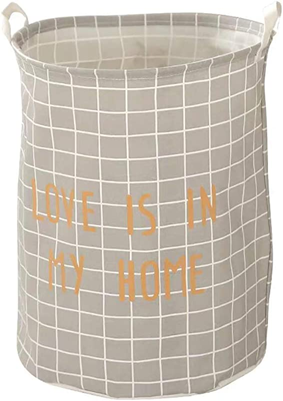 YULEMY 19 Inches Round Laundry Basket Storage Bin Clothes Hamper With Waterproof Coating Linen Collapsible Clothes Toys Storage Organizer With Handles