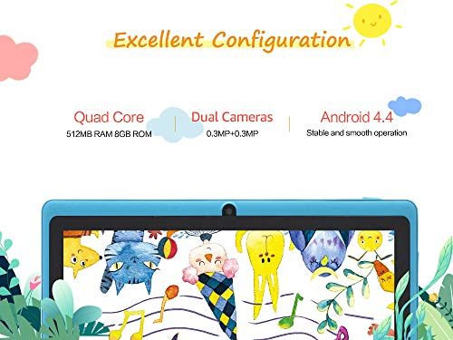 Haehne 7 Zoll Tablet PC, Google Android 4.4, Quad Core A33 8GB ROM, Zwei Kameras, Bluetooth, WiFi, Azurblau