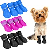 JETTINGBUY 12 Pieces Waterproof Dog Boots Shoes Silicone Dog Shoes Dog Rain Boots Non-Slip Pet Rain Shoes Pet Boots for Dogs Cats Pets (3 Sets, 3 Colors)