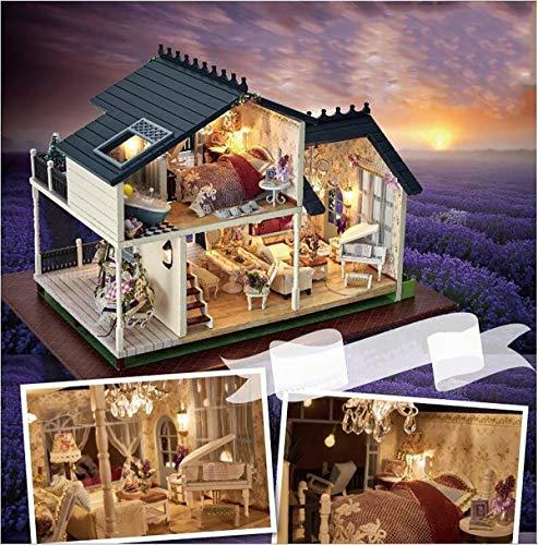 DIY Handcraft Miniature Project Kit Wooden Puzzle Dollhouse My Provence Lavender Villa Mini Furniture Decoration