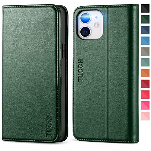 TUCCH Funda iPhone 12 Pro, Funda iPhone 12, Funda de Cuero PU con Cáscara de TPU, Ranura para Tarjeta,Soporte Plegable, Funda Libro para iPhone 12 /iPhone 12 Pro (6.1 Pulgadas), Verde Medianoche