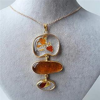 Especialmente diseñado, Latón chapado en oro, collar de cristal en colores pastel de otoño