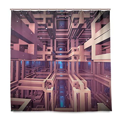 BEITUOLA Duschvorhang 180 x 180cm,Raummatrix Virtual Reality 3D-Illustration,Wasserdicht Polyester Textil Stoff Badewannevorhang Shower Curtain