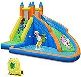 ZHENGRUI Casa de rebote inflable con tobogán, castillo de salto con soplador y onda, piscina, escalada, pared, centro de juego inflable para niños, fiesta de agua de verano