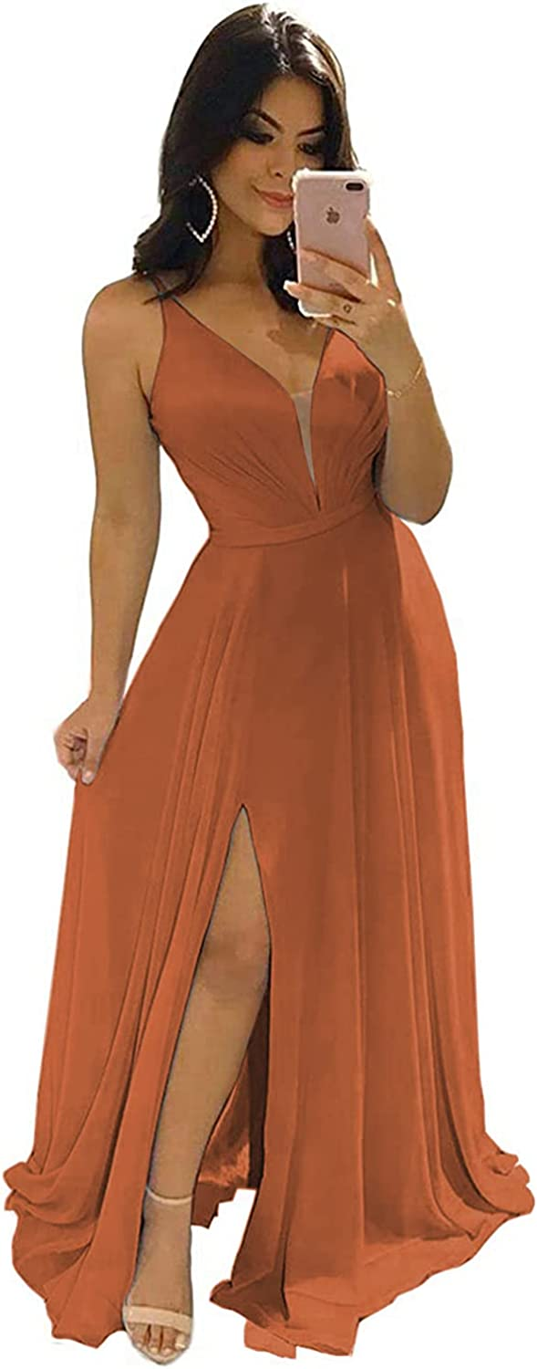 YORFORMALS Women's Deep V-Neck Chiffon Bridesmaid Dress Long with Slit Pleated A-line Formal Evening Prom