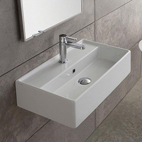 White Rectangular Ceramic Wall Mounted/Vessel Sink, White