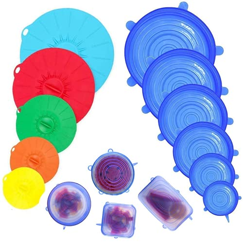 Silicone Lid Set Microwave Cover, Heat Resistant Stretchy Silicone Lid with 11 Different Sizes and Colours Can be Used in Bowls, Pot, Plates, Cups, Oven, Fridge