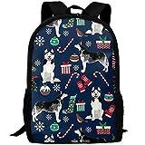 New Cute Siberian Husky Christmas Dog 3D Print Mochila College School Laptop Bag Daypack Bolsa de Viaje para Unisex
