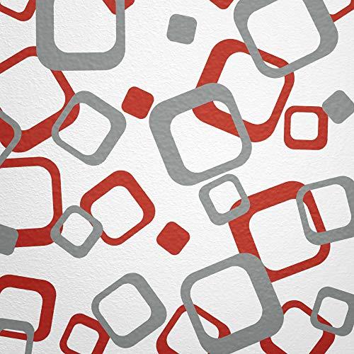 WANDfee® Wandtattoo Vierecke 60 Aufkleber FARBWUNSCH Wandaufkleber Kinderzimmer Fliesenaufkleber Badezimmer Küche grau rot