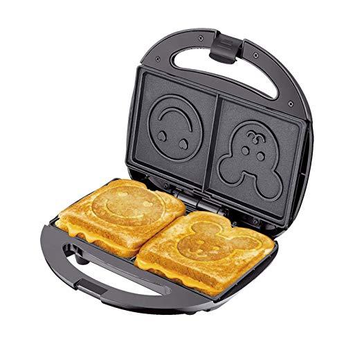 GCE Cocina Eléctrica 2 Rebanadas Sandwich Tostadora Tostadora Sandwich Smiley Bear Press Negro 750...