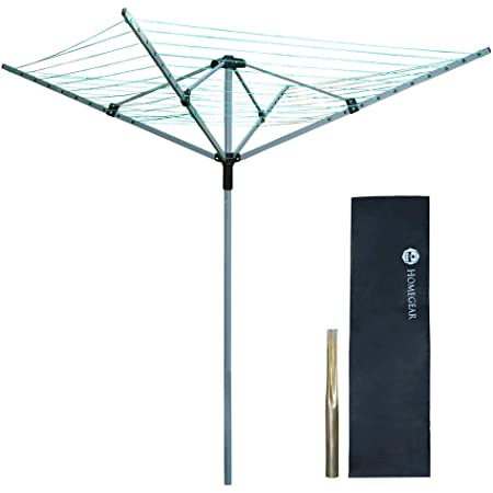 4 Arm 40m Rotary Airer Clothes Garden Washing Line Outdoor Drying Dryer Ground Lightweight Free Standing Powder Coated Non Rust