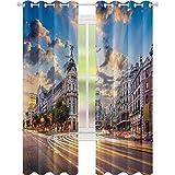 Cortinas térmicas con aislamiento, vista de las calles, moderno Madrid con paisaje del cielo Big Old Town Heritage Deco, cortinas opacas de 52 x 84 para niñas sala de estar, Multi