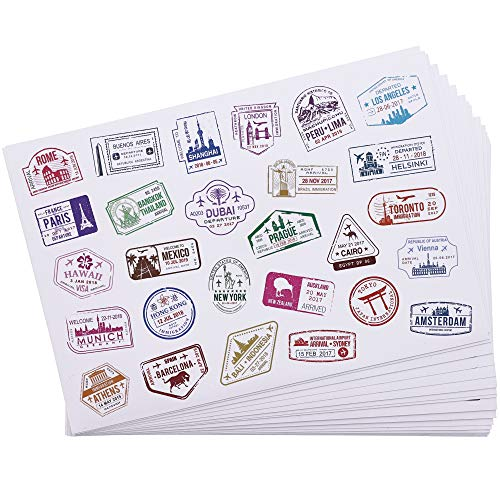 Bright Creations Travel Stickers, Decorative Stamps, Sealing Stickers in 4 Designs – 810 Count – White Vinyl PVC