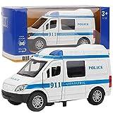 1:32 Coche de ambulancia, modelo de simulación de juguete de coche de aleación mini con sonido y luz Regalo educativo para niños mayores de 3 años(Azul)