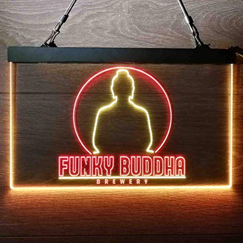 zusme Funky Buddha Brewery Colorful LED Neon Sign Man Cave Light Red & Yellow W16 x H12