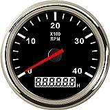 ELING 回転計 0-4000RPM タコメーター RPMタコゲージ 車 トラック ボート ヨット用の時間計付き 85mm バックライト付き 12V 24V