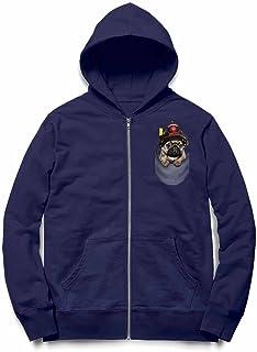 Fox Republic 消防士の帽子 ポケット パグの赤ちゃん 犬 ネイビー キッズ パーカー シッパー スウェット トレーナー 150cm