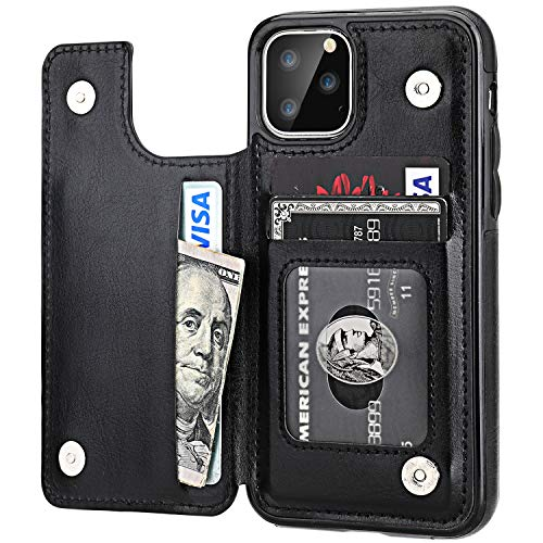 iPhone 11 Pro Wallet Case with Card Holder,OT ONETOP PU Leather Kickstand Card Slots Case,Double Magnetic Clasp and Durable Shockproof Cover for iPhone 11 Pro 5.8 Inch(Black)