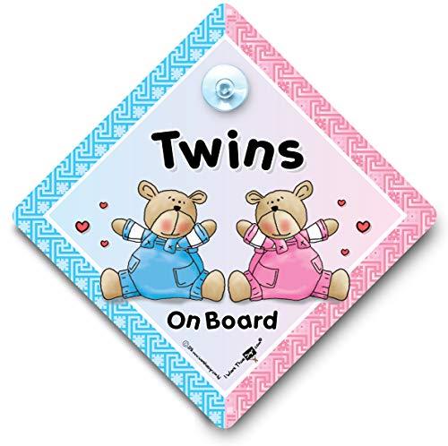 Twins On Board Autoschild mit Saugnapf
