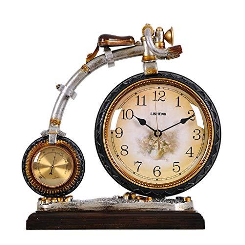 JCOCO Creative vélo table horloge pour salon chambre table décoration résine quartz bureau horloge silencieux muet mouvement mouvement horloge de table (Couleur : Brown, taille : 34 * 34.5cm)