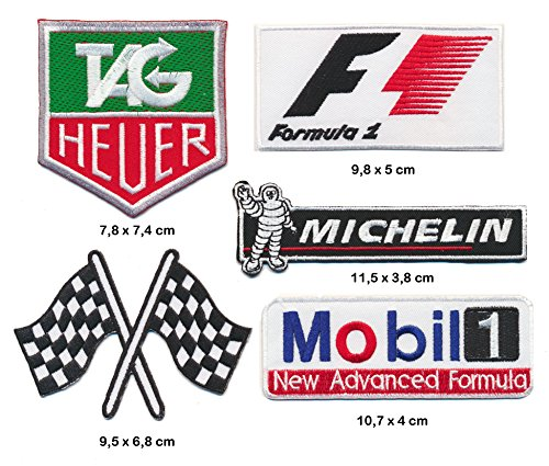 TAG F1 Michelin Mobil Aufnäher Aufbügler Patch 5 Stück Racing Rennsport TURBOVERSAND