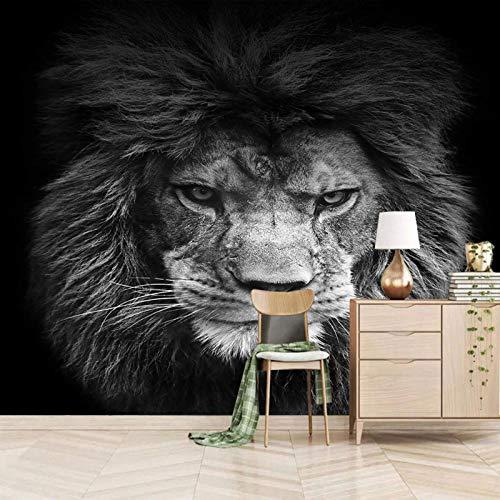 Msrahves Fotomural Vinilo de Pared Gris elegante animal león Fotomurales 3D Pintura...