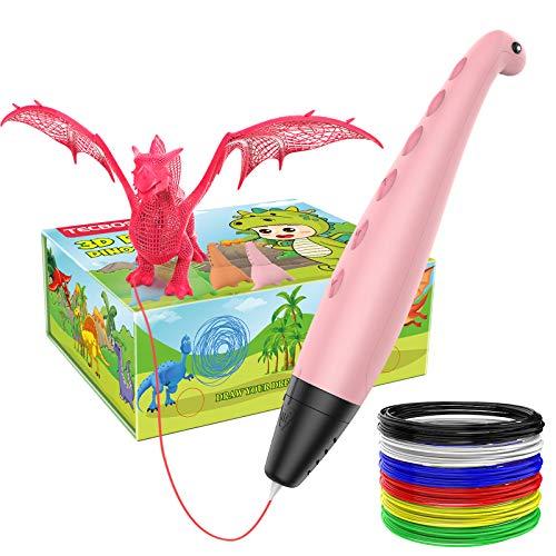 Tecboss Lápiz 3D, Pluma 3D Dinosaurio,3D Pen, Modo de Ssueño Seguro de 2 Velocidades, Especial Regalo para Niños y Niñas de 6/7/8/9/10 Años de Navidad,Cumpleaños(Color Pink)