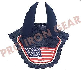 PRO IRON GEAR USA Flag Horse Ear Bonnet/Net/Hat/Hood/Mask Fly Veil Full/Cob