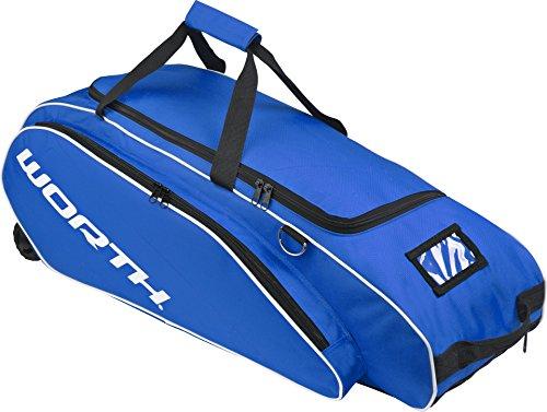 Worth Baseball-Softball Ausrüstungs tasche mit Rädern – Blau