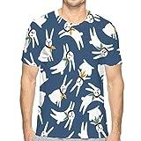 T-Shirt Graphique pour Hommes Adultes T-Shirt de Noël Nouvel an Lapin d'hiver pour Adolescents M