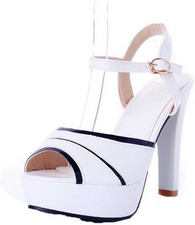 WeiPoot Women's Buckle High-Heels PU Assorted color Peep-Toe Sandals