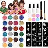 30 Colors Glitter Tattoos Kit-Birthday Gifts for Girls Age 3 4 5 6 7 8 9 Year Old Christmas Gifts Temporary Body Glitter Face Paint 118 Sheets Stencils 3 Glue 2 Brushes