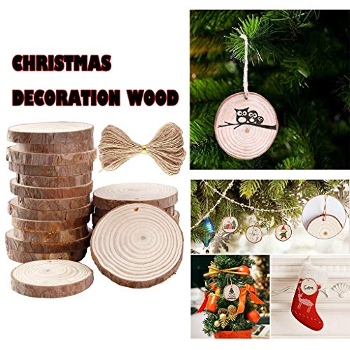 30PCS Wood Slices Circles 6-7 cm Sliced Wood Discs 10m Hemp Rope Natural Wood, Christmas Holiday Party Decoration