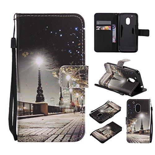 Nancen Compatible with Handyhülle Motorola Moto G4 Play (5 Zoll) Hülle/Handyhülle, Painted PU Leder Tasche Schutzhülle Case [Nacht]