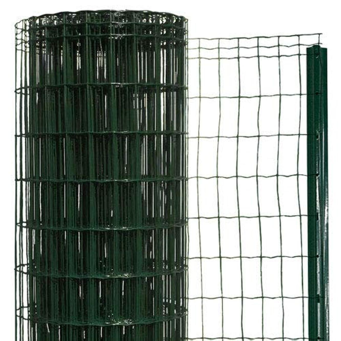地上の中央恥簡単金網フェンス?改良型 1500 ネット+支柱セット 【高さ:1.5m?長さ:20m?防錆処理+PVC加工】