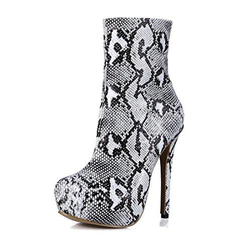 CHMILE CHAU Zapatos para Mujer-Media Pierna Botas de Tacon Alto de Aguja-Talón Delgado-Sexy-Moda-Vestido de Fiesta-Serpiente-Plataforma 3cm