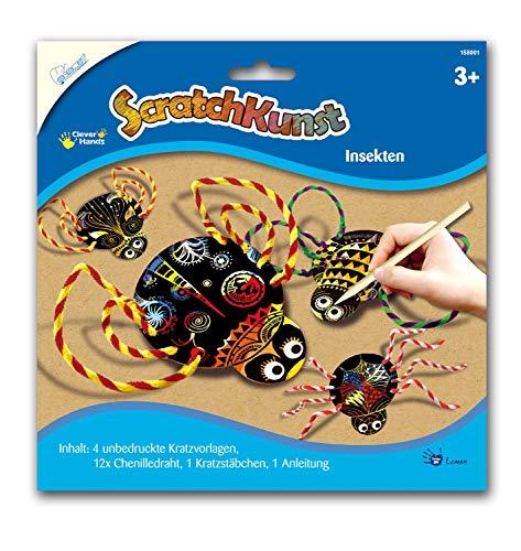 MAMMUT 158001 – repbilder repkonst, motiv insekter, komplett set med 4 repor, chenilletråd, reppinnar och instruktioner, skrapa, repset för barn från 3 år