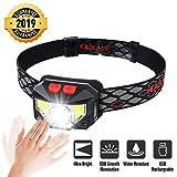 OUTERDO Stirnlampe LED, Kopflampe 8 Modi COB Smooth Illumination, Sensor Kopfleuchte Warnen-...