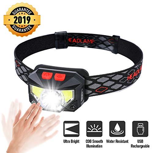 OUTERDO Stirnlampe LED, Kopflampe 8 Modi COB Smooth Illumination, Sensor Kopfleuchte Warnen- Rotlicht USB Wiederaufladbare Wasserdicht, Stirnlampe für Retten Camping Angeln Nachtlese