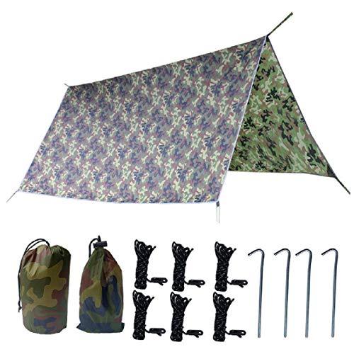 TRIWONDER Toldo Impermeable Camping Lona de Suelo Refugio Sombrilla Estera para Senderismo Tienda de Campaña Picnic al Aire Libre (Camuflaje + Accesorios, L - 3 x 3m)