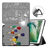 MAITTAO New iPad 9.7 Inch 2018 2017 Case with Pencil Holder, iPad Air/iPad Air 2 Smart Cover Folio Stand Protective for Apple iPad 5th 6th Gen Case (A1822/A1823/A1893/A1954),Creative Bulb 12