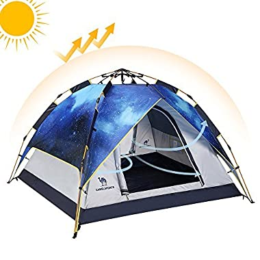 Camel Fourth-generation Automatic Hydraulic Tent for 2-3 Person Outdoor Waterproof Camping (Gray)