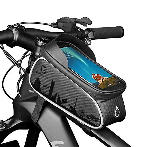 HASAGEI Fahrrad Rahmentasche Fahrradtasche Rahmen Oberrohrtasche Oberrohr Fahrrad Tasche Touch Screen Wasserdicht Smart Handyhalterung Rennrad Lenkertasche für 6 Zoll Smartphones (Typ1-Schwarz)