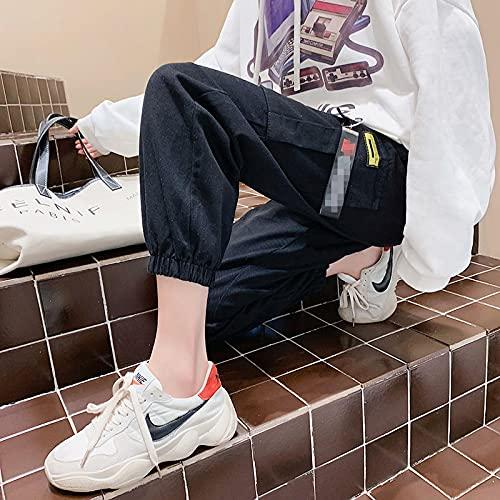 haochenli188 Pantalones Cargo De Cintura Alta Casuales De Color Caqui Negro para Mujer Pantalones Sueltos De Moda SóLidos con Bolsillos Laterales Capris De Cintura EláStica Asiansizes 2