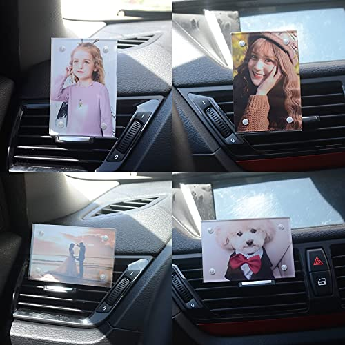 Car Dashboard Vent Photo Picture frame holder , Magnetic clear acrylic picture photo frame with clip Fit wallet size 3.5 x 2.3 inch