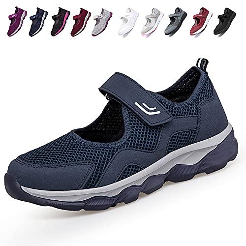 [JIAFO] 安全靴レディース スニーカー 介護シューズ 高齢者シューズ マジックテープ 通気性 柔軟性 軽量 メッシュ 中高齢者靴 ママシューズ 疲れにくい 滑り止めお母さん 婦人靴 看護師 白 黒(22.5cm~26.0cm) (ブルーC, meas