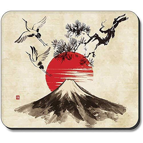 muismat - kranen vliegen over een vulkaan tekening