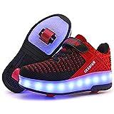 Ali-tone LED Chaussures à roulettes Fille garçon Retractable Basket a Roulette Two Wheel Detachable Creative Gifts