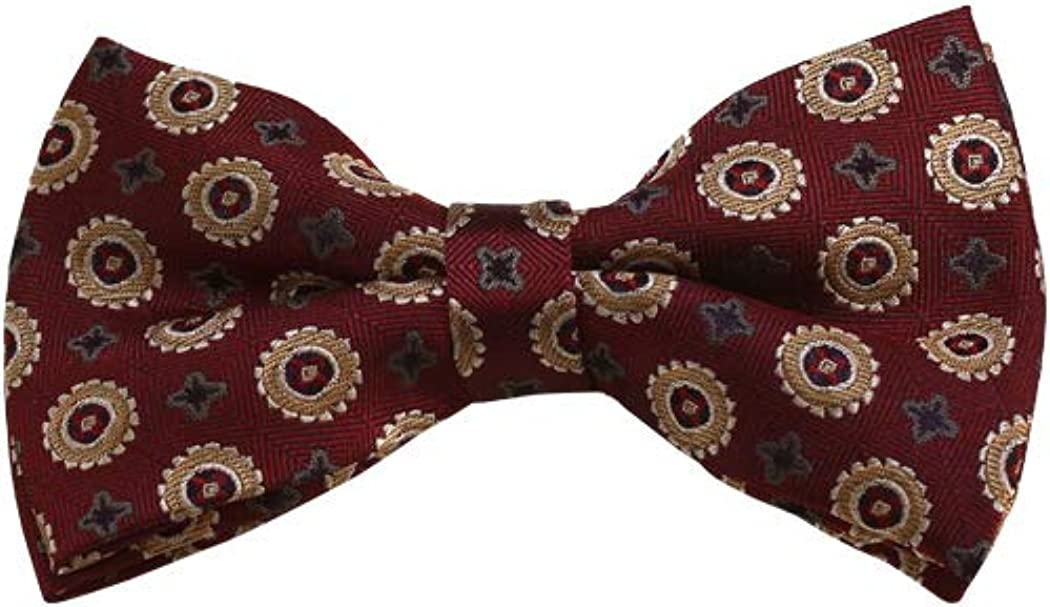 Gold, Grey And Maroon Floral Woven Pre-Tied Bow Tie