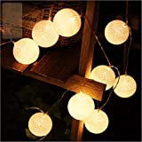 ELINKUME LED Stringa di Luce 20LEDs Sfera Della Lana 3.3M Luci di Fata Batteria Powered Decorazione Ideale per Interni/Balcone/Festa/Matrimonio/Vacanze (bianco caldo)